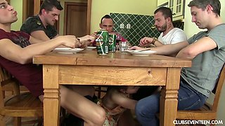 Nude housewife in apron Lady Bug give s blowjob under the table to several guys