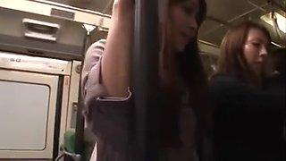 Lesbos grope cutie in bus (three)