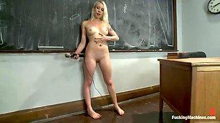 hot blonde fucks a machine in class