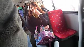 Exhibitionist flashes dick to girl in bus