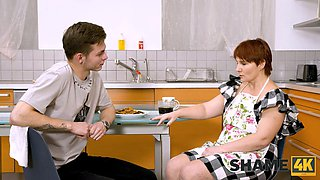 SHAME4K. Mature redhead agrees to get off when friends son visits her