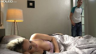 Lovely blond stepsister Mila Marx gets her anus fucked for the first time