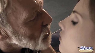 Pretty personal sitter gives a blowjob to old man and gets her pussy licked