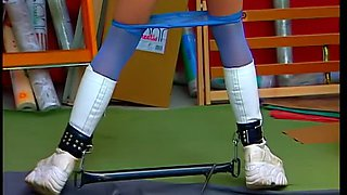 Flexible enough bitch with big tits gets tied up and undressed in kinky way