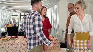 Dude bangs gf and stepmom in kitchen