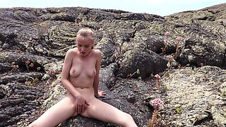 Amateur solo video of Angel B masturbating and pissing by the sea
