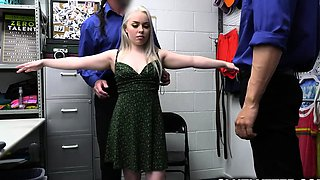 Officers tag team teen blonde Haley as her punishment
