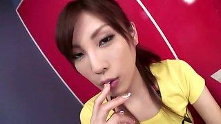Sweet Kana Miura with a mouth full of hot jizz