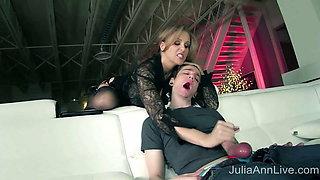 Busty MILF Julia Ann Makes Her Boy Toy Cum In His Own Mouth