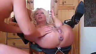 Dissolute older blond goes hardcore
