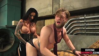 Femdom humiliates sissy sub before pegging