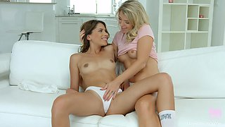Passionate lesbian sex between models Baby Nicols and Mary Kalisy