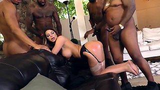 Hot slut with big tits takes black cock