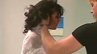 Submissive brunette spanked
