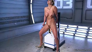 Oiled big tits milf fucking machine