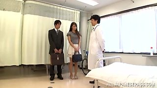 Nude Japan babe roughly fucked in a fine threesome at the Hospital