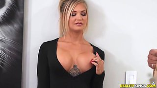 Big-boobed Blonde Vixen Pleases Ricky In The Kitchen With Ricky Johnson And Alison Avery