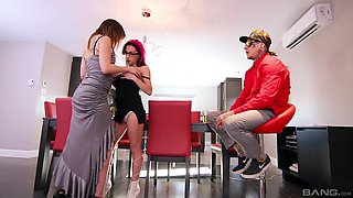 Fun-loving Sunny Spark and a hottie share a tattooed lover