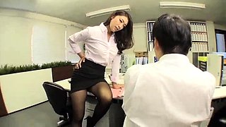 Attractive Japanese secretary gets drilled in the office