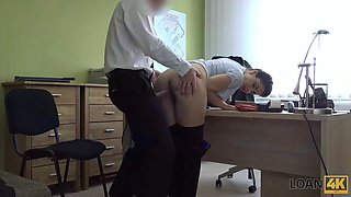 LOAN4K. Crazy sex on the desk in the loan office for the money needed