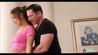Cute teen daughter jojo kiss fucked by her dad&#039s best friend