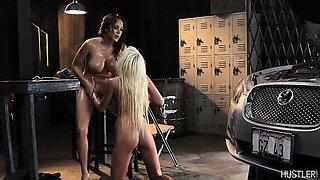 Sexy lesbian oil wrestling