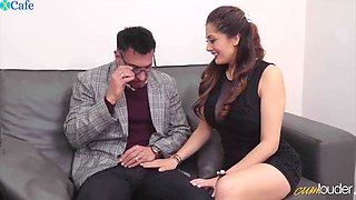 eye-catching babe in tight black dress halona moreno surprises bf with 3some