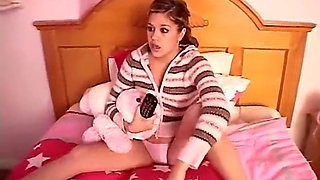 Teen Topanga touching her pussy in her bedroom