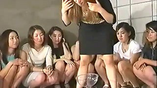 Extreme gang female domination from asian girls, grumble, blow their nose, burp at the face of a slave