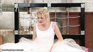 Pale blonde bride bound and fucked