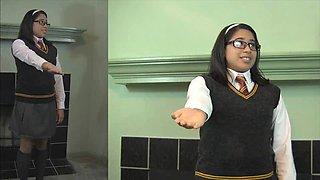Schoolgirl erica fucked from behind, drinks from condom