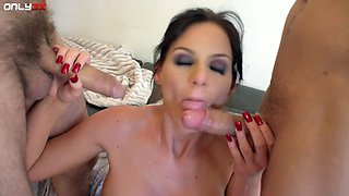Ass eating turns on slutty Phoenix Marie and she wants DP 3-way