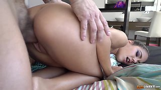 Hot young senora licks and sucks big cock and gets her slit fucked