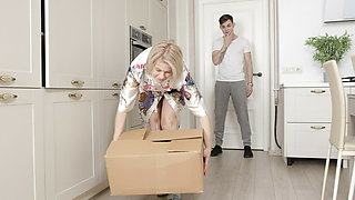 SHAME4K. Mature blonde's hubby doesn't know about her kinky side