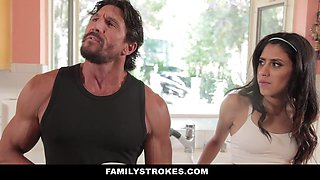 Stepdad and stepdaughter cross the line and make love for the first time