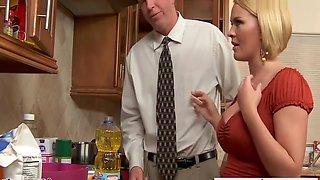 Chesty Wife Slurping Cum In The Kitchen - Krissy Lynn