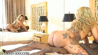 Big booty stripper riding a big black cock