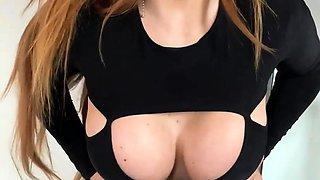 Sensuous amateur milf puts her amazing big tits on display