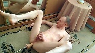 LanaTuls - Fucked by Sex Machine on the floor