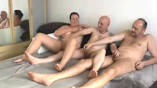 Kinky mature friends get together for a bisexual threesome