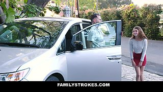Family Strokes - Cute Step Daughter Sucks Off Step Dad For A Car