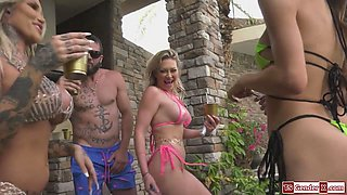 Hot tgirls have an orgy in a pool party with guys and a girl