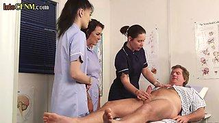 CFNM Euro nurse teaches how to jerk babes cock
