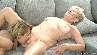 Old nanny Malya enjoys eating fresh pussy of naughty lesbian nextdoor girl
