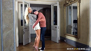 hot blonde milf takes a big dick down her throat