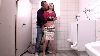 Stacked Asian cutie pumped full of cock in a public toilet