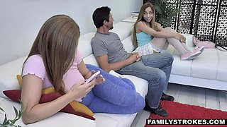 FAMILY STROKES Step-uncle receives Kinky Double Blowjob