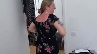 Mom gets naked in front of stepson and gets in small dress