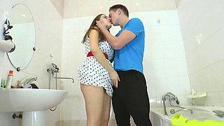 Hairy MILF Agneta fucking a man in the bathroom