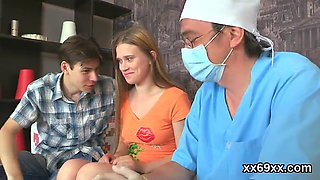 Dude assists with erotic check-up and penetrating of virgin sweetie